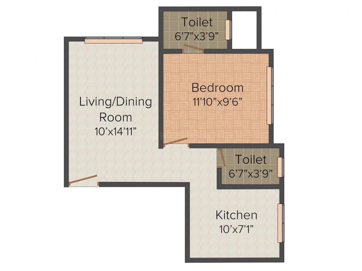 Floor Plan Image of 418.0 - 663.0 Sq.ft 1 BHK Apartment for buy in Viva Haritara Residency