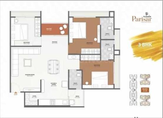 Pramukh Parisar Floor Plan: 3 BHK Unit with Built up area of 1845 sq.ft 1