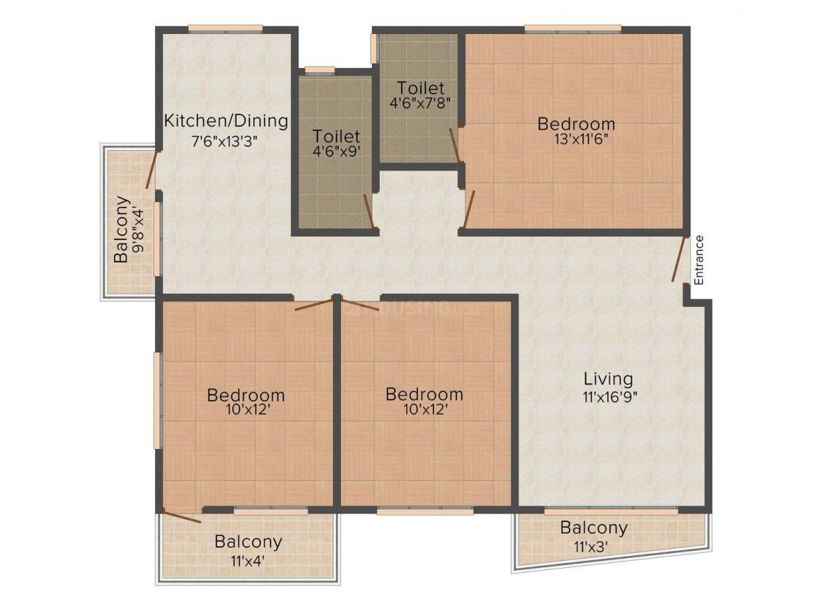 CC Swasthick Floor Plan: 3 BHK Unit with Built up area of 1250 sq.ft 1