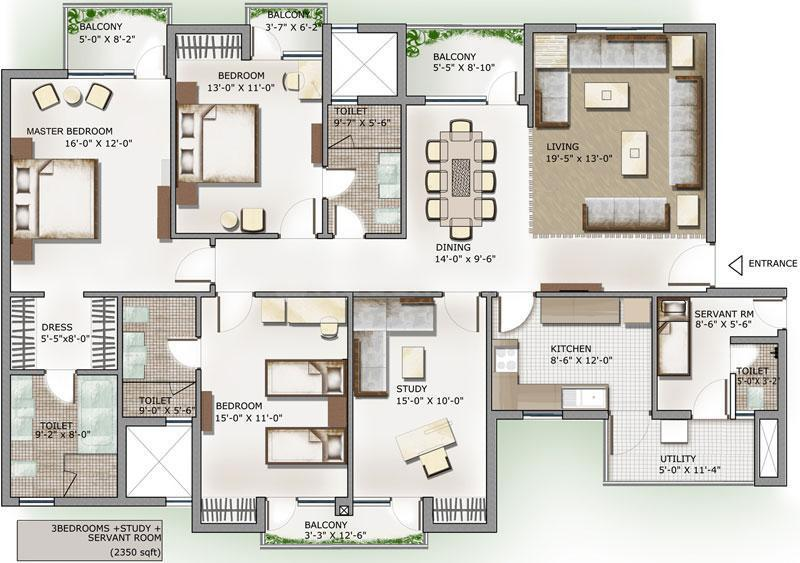 3C Lotus Panache Island Floor Plan: 3 BHK Unit with Built up area of 2350 sq.ft 1