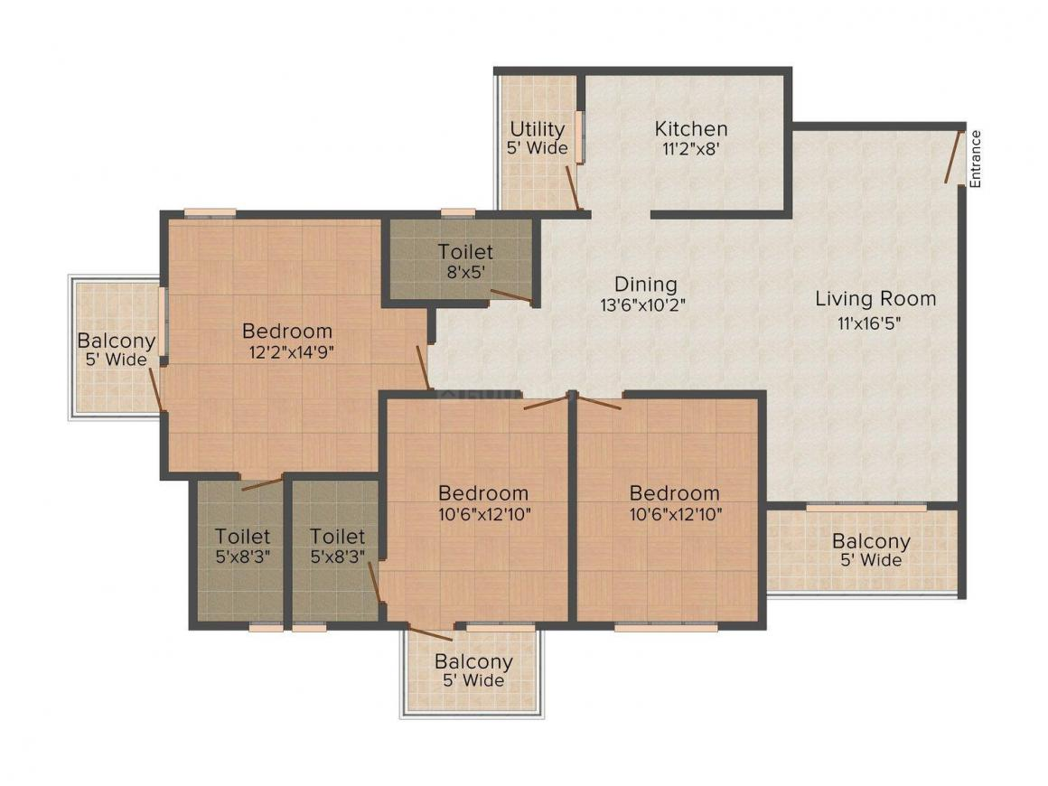 Floor Plan Image of 1177.0 - 1619.0 Sq.ft 2 BHK Apartment for buy in  Rio Grande