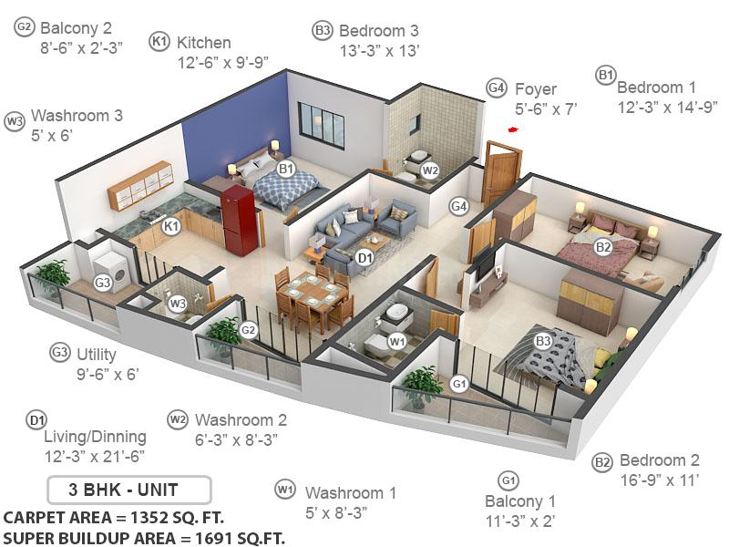 Klassik Landmark Floor Plan: 3 BHK Unit with Built up area of 1352 sq.ft 1