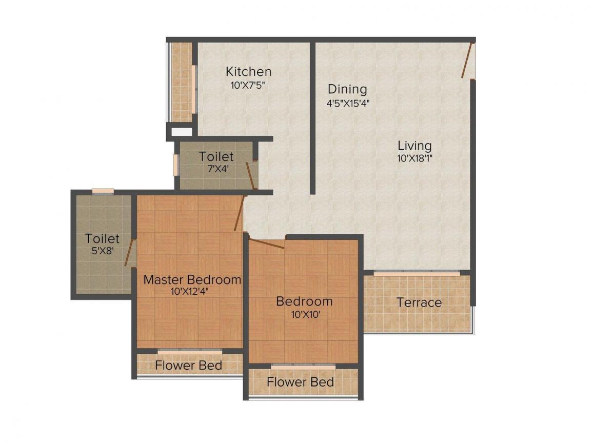 Floor Plan Image of 648 - 1080 Sq.ft 1 BHK Apartment for buy in Moraj Riverside Park