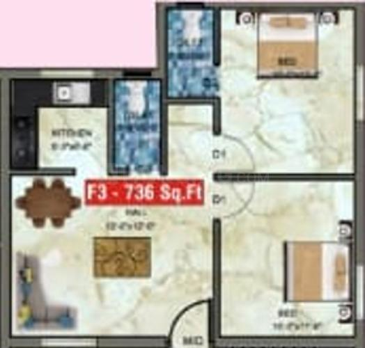 Shantha Flats Floor Plan: 2 BHK Unit with Built up area of 736 sq.ft 1
