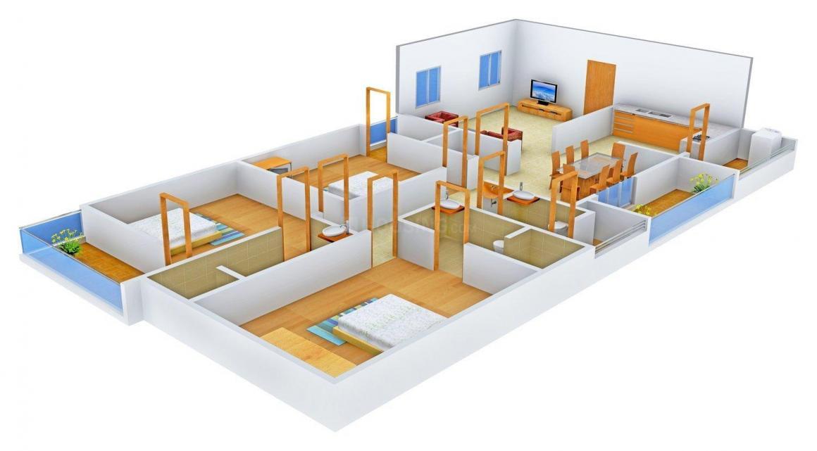 Floor Plan Image of 0 - 1550.0 Sq.ft 3 BHK Apartment for buy in K V  Wind Flower