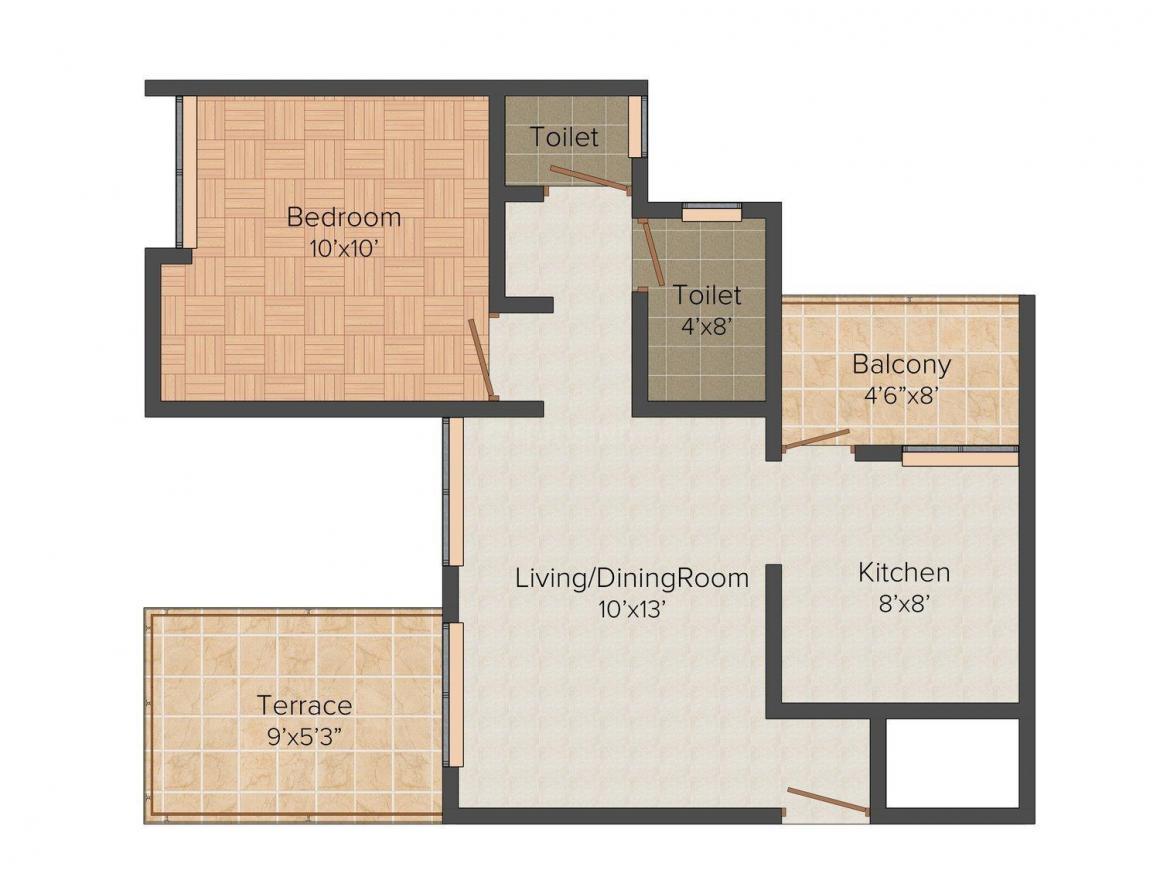 Kanchan Comfortz Floor Plan: 1 BHK Unit with Built up area of 479 sq.ft 1