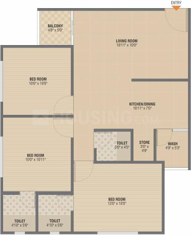 Vivan 79 Floor Plan: 3 BHK Unit with Built up area of 160 sq.yd 1