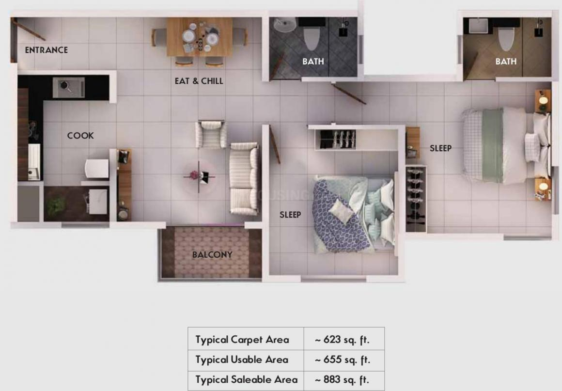Provident Equinox 2 Floor Plan: 2 BHK Unit with Built up area of 623 sq.ft 1