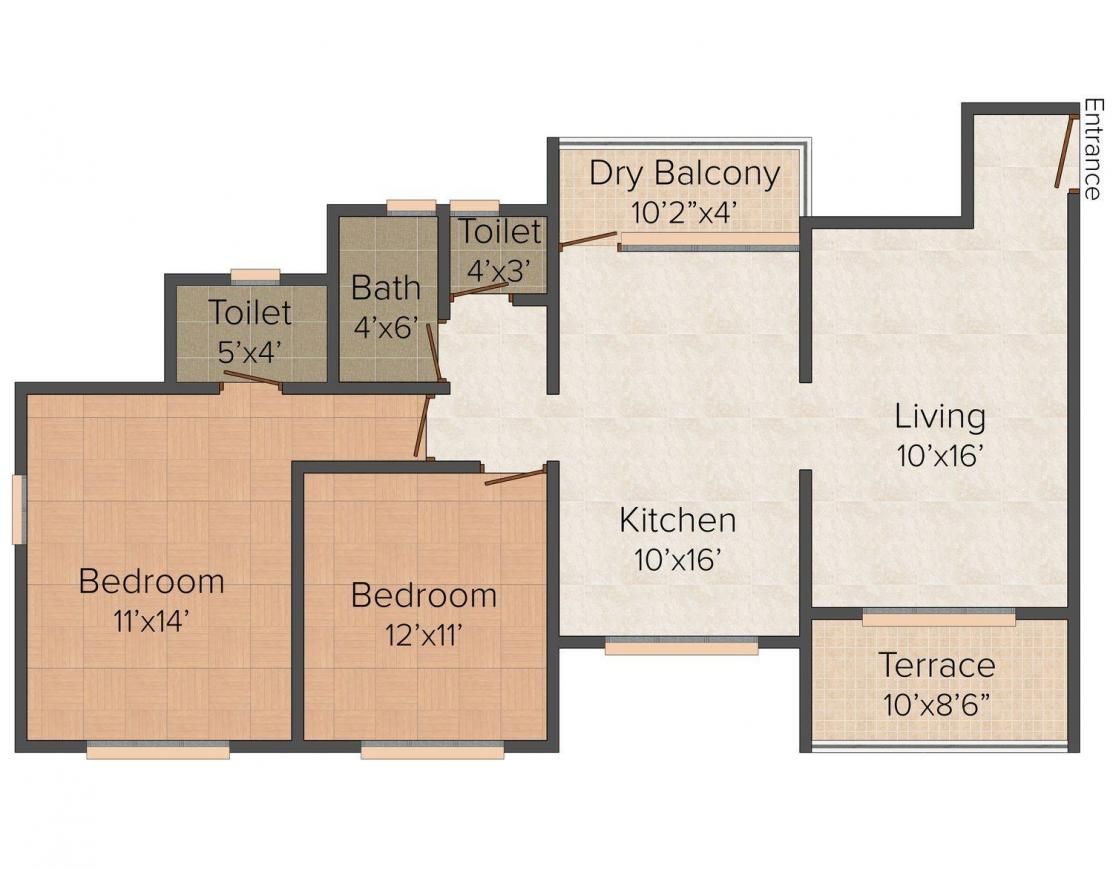 Floor Plan Image of 0 - 1050.0 Sq.ft 2 BHK Apartment for buy in Nishigandh Avenue