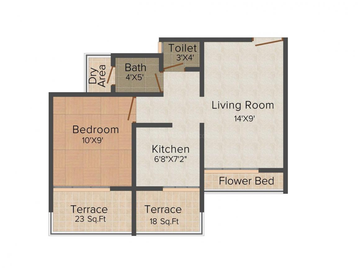 Floor Plan Image of 0 - 444.0 Sq.ft 1 BHK Apartment for buy in Riddhi Siddhi Heights