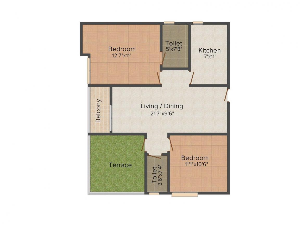 Floor Plan Image of 1034.0 - 2100.0 Sq.ft 2 BHK Apartment for buy in Adya Exotica Heights