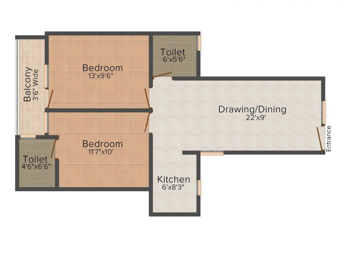 Floor Plan Image of 0 - 900 Sq.ft 2 BHK Independent Floor for buy in Jawala Mukesh Phase 1