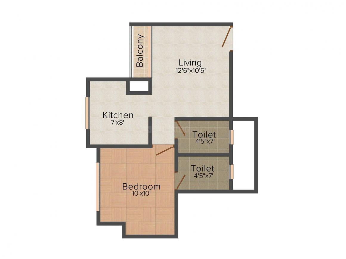 Floor Plan Image of 0 - 650.0 Sq.ft 1 BHK Apartment for buy in Kalindi Sai Yamuna