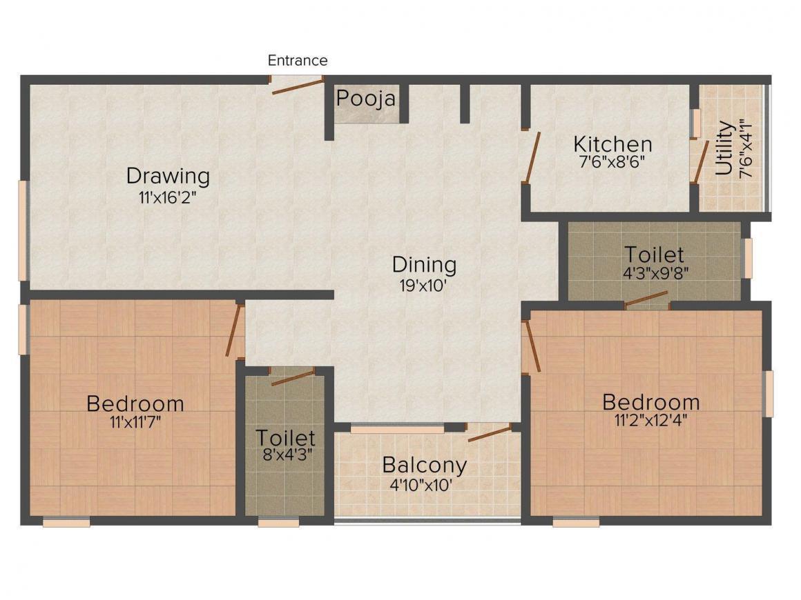 Manisha Construction Manisha GR Residency Floor Plan: 2 BHK Unit with Built up area of 1240 sq.ft 1