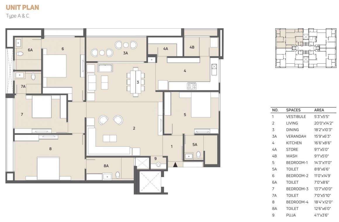 Shivalik Avenue Floor Plan: 4 BHK Unit with Built up area of 1881 sq.ft 1