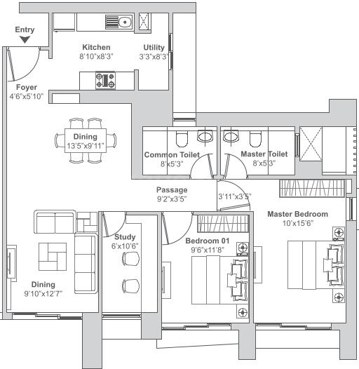 Tata Vivati Floor Plan: 2 BHK Unit with Built up area of 858 sq.ft 1