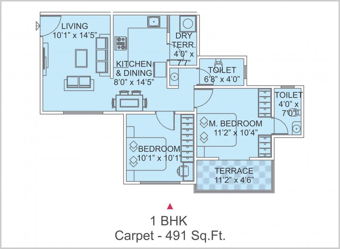 Savita Calysta Floor Plan: 1 BHK Unit with Built up area of 491 sq.ft 1