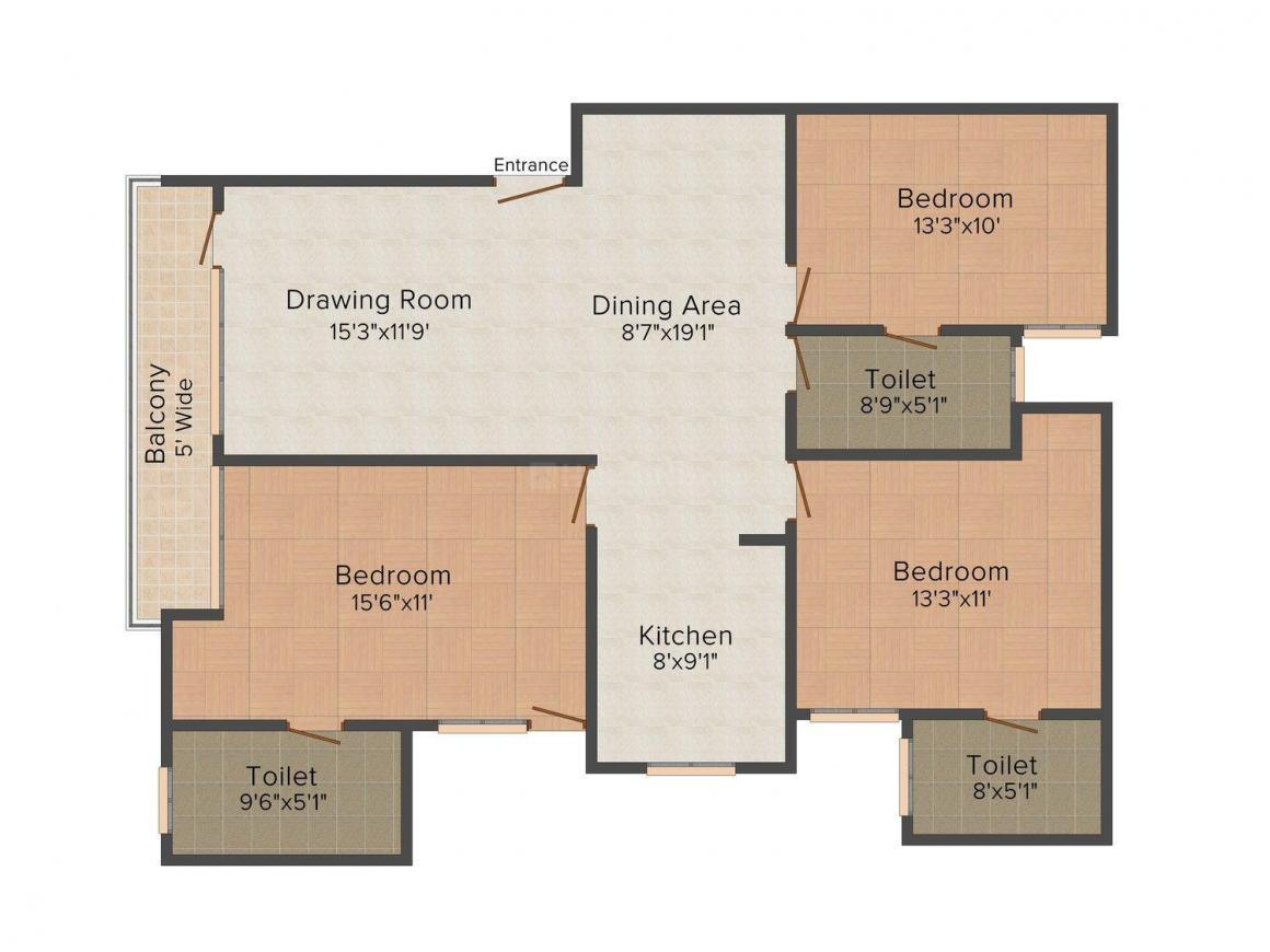 Floor Plan Image of 1450 - 1800 Sq.ft 3 BHK Independent Floor for buy in Kamra - 1