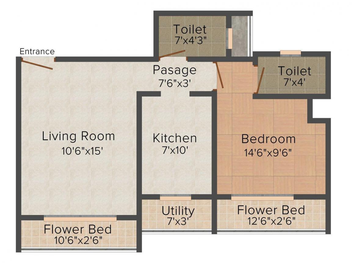 Floor Plan Image of 685 - 1050 Sq.ft 1 BHK Apartment for buy in Shreeji Residency