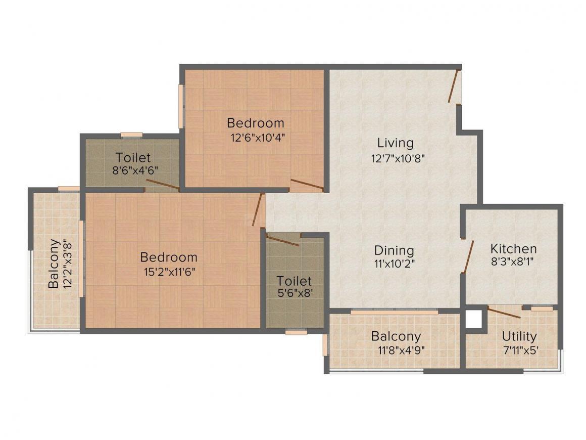 Floor Plan Image of 884.0 - 1256.0 Sq.ft 2 BHK Apartment for buy in Land Links Varashree Residency