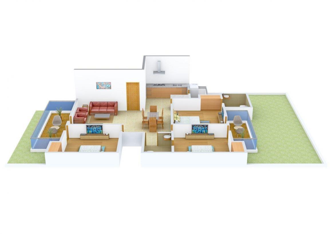 Tatawat Floors - 4 Floor Plan: 3 BHK Unit with Built up area of 1550 sq.ft 1