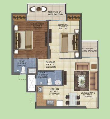 Mahagun Mahagun My Woods Floor Plan: 2 BHK Unit with Built up area of 850 sq.ft 1