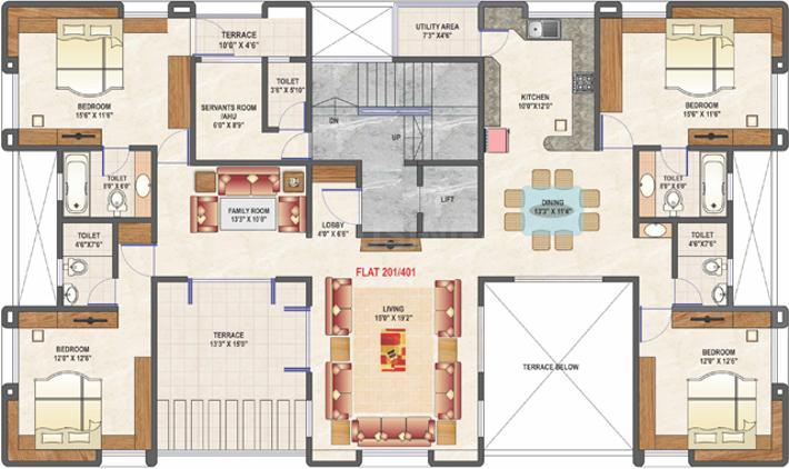 Mittal Feather Castle Floor Plan: 4 BHK Unit with Built up area of 2535 sq.ft 1