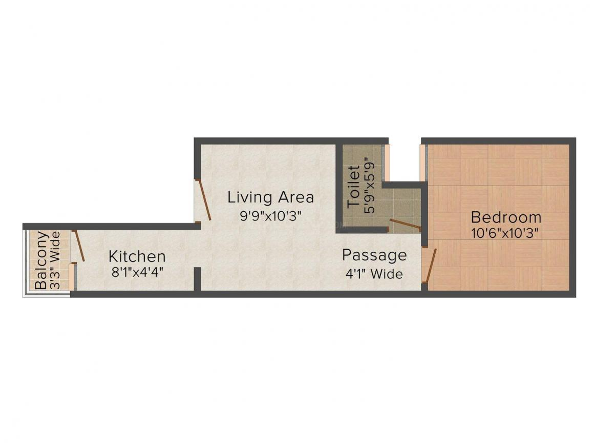 Krishna Builders Project Floor Plan: 1 BHK Unit with Built up area of 382 sq.ft 1