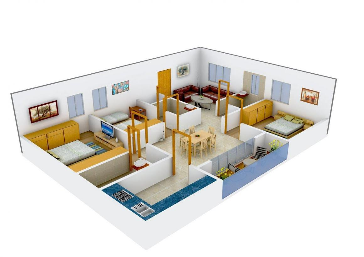 Floor Plan Image of 1425.0 - 1466.0 Sq.ft 3 BHK Apartment for buy in Sai S4 G R Mansion
