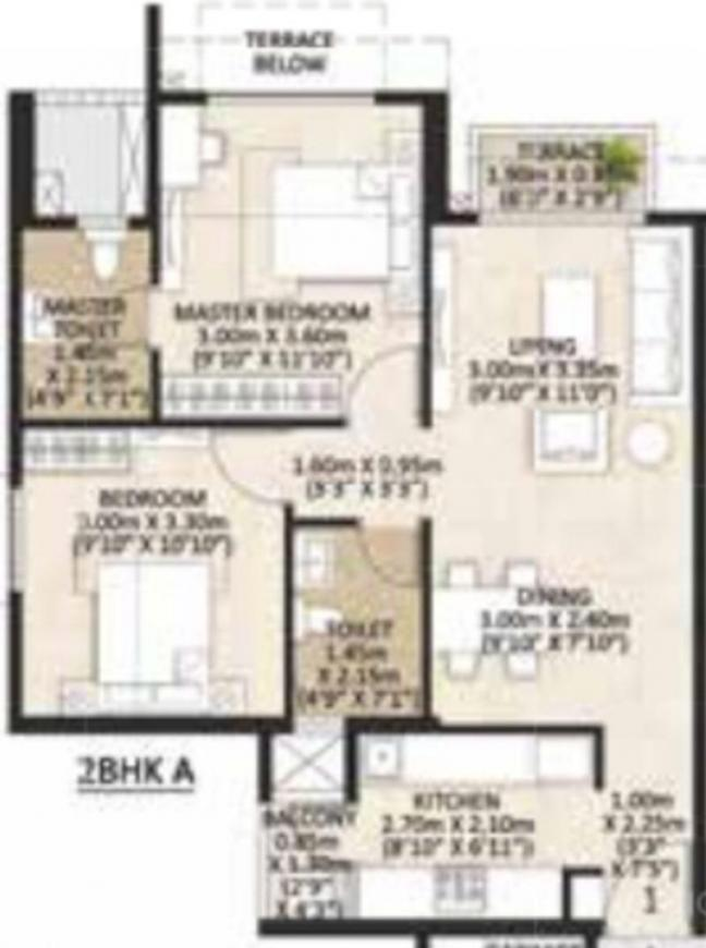 Mahindra Centralis Tower 1 Floor Plan: 2 BHK Unit with Built up area of 531 sq.ft 1
