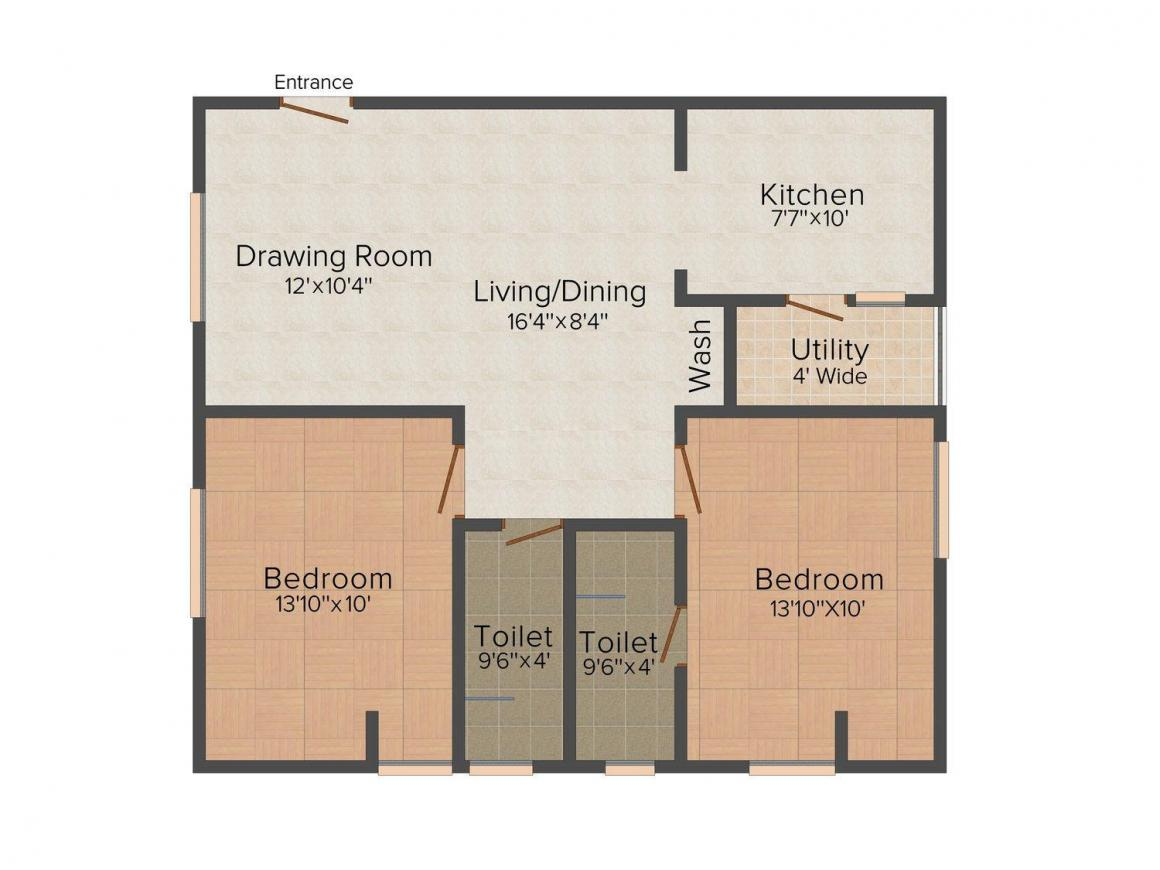 Floor Plan Image of 1021 - 1523 Sq.ft 2 BHK Apartment for buy in SV Enclave
