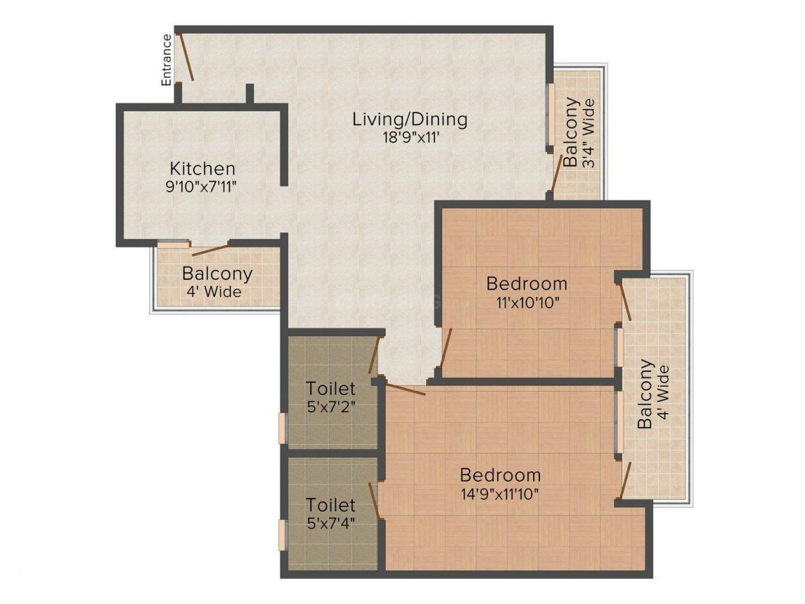 Floor Plan Image of 1150 - 1450 Sq.ft 2 BHK Apartment for buy in Omaxe R2