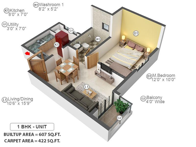 Prestige Jindal City Floor Plan: 1 BHK Unit with Built up area of 422 sq.ft 1