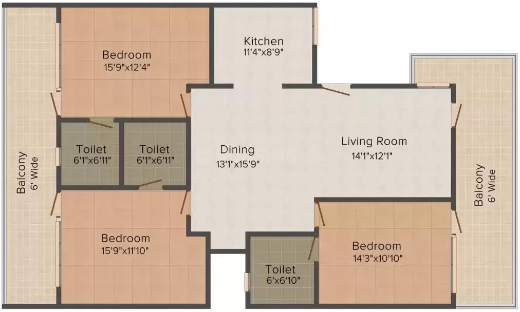 Sharma Properties Homes 3 Floor Plan: 3 BHK Unit with Built up area of 1386 sq.ft 1