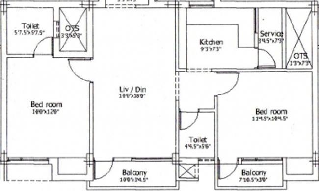 Raghavendra Guru Heritage Floor Plan: 2 BHK Unit with Built up area of 900 sq.ft 1