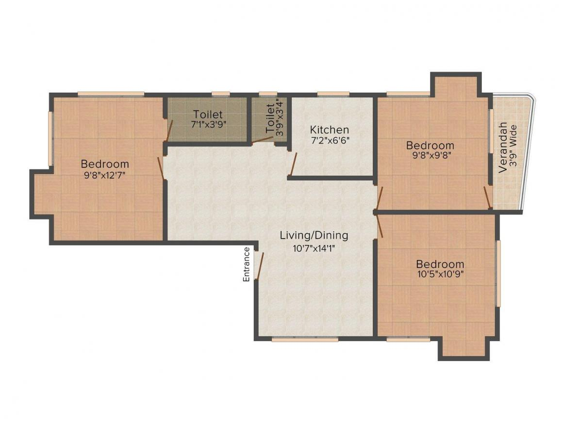 Floor Plan Image of 0 - 1370.0 Sq.ft 3 BHK Apartment for buy in Hindusthan Sepia