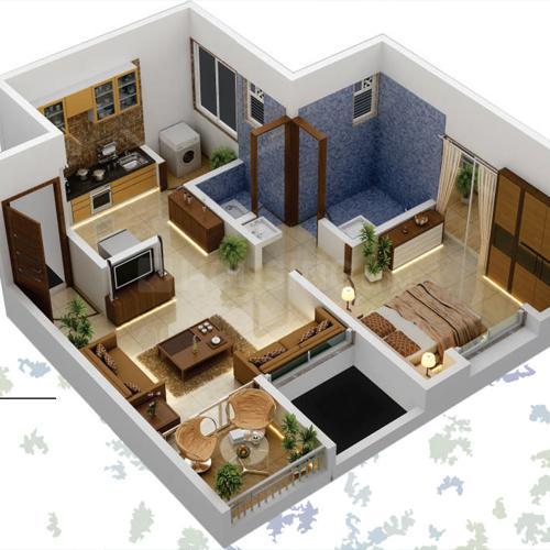 Shree Malhar Kamal Green Leaf Floor Plan: 1 BHK Unit with Built up area of 429 sq.ft 1