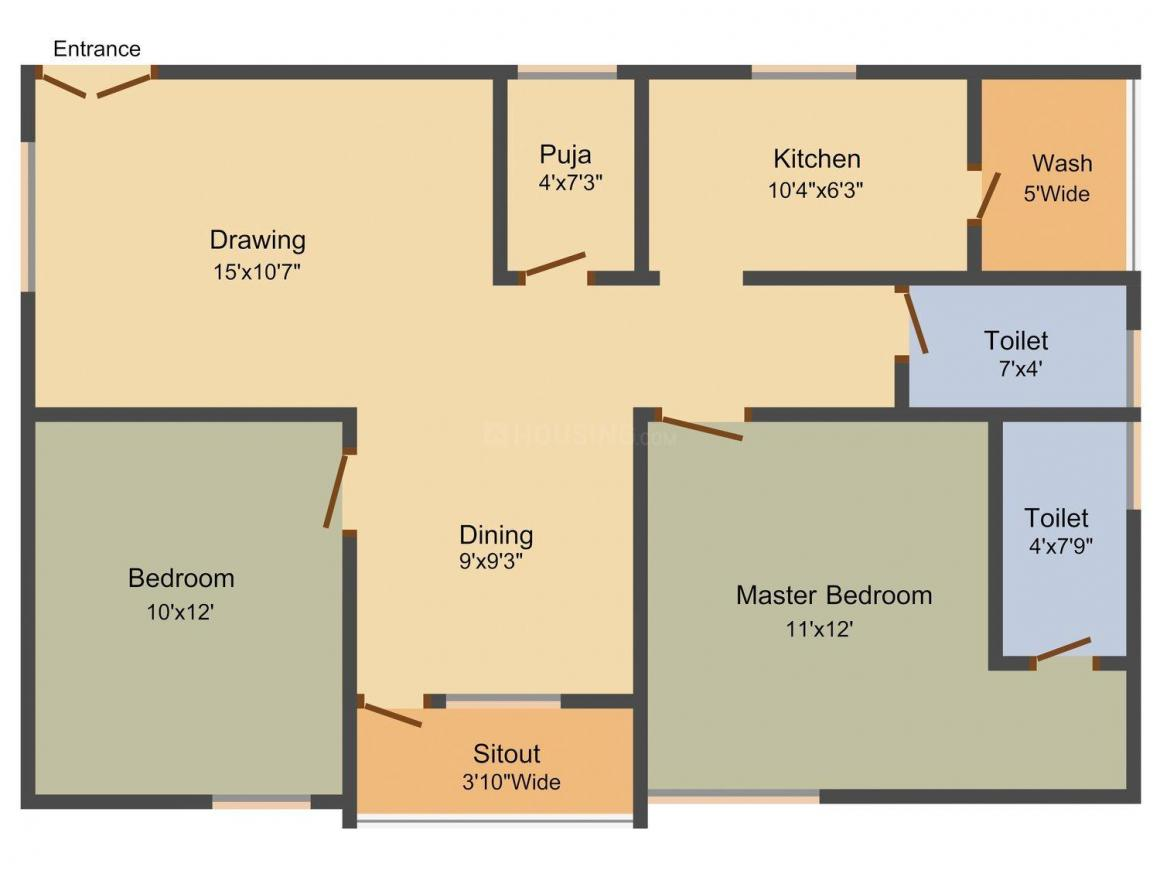 Floor Plan Image of 0 - 1075 Sq.ft 2 BHK Apartment for buy in Nirvana Trident
