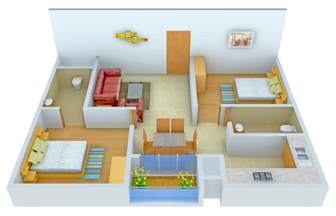 Floor Plan Image of 850 - 1198 Sq.ft 2 BHK Apartment for buy in Mantri Celestia