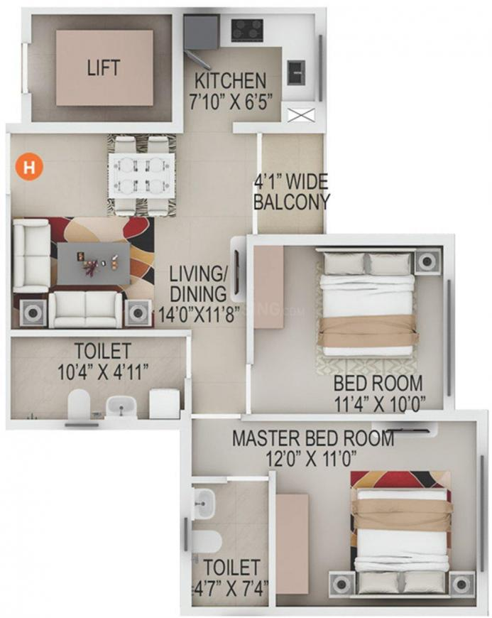 Primarc Southwinds Floor Plan: 2 BHK Unit with Built up area of 881 sq.ft 1