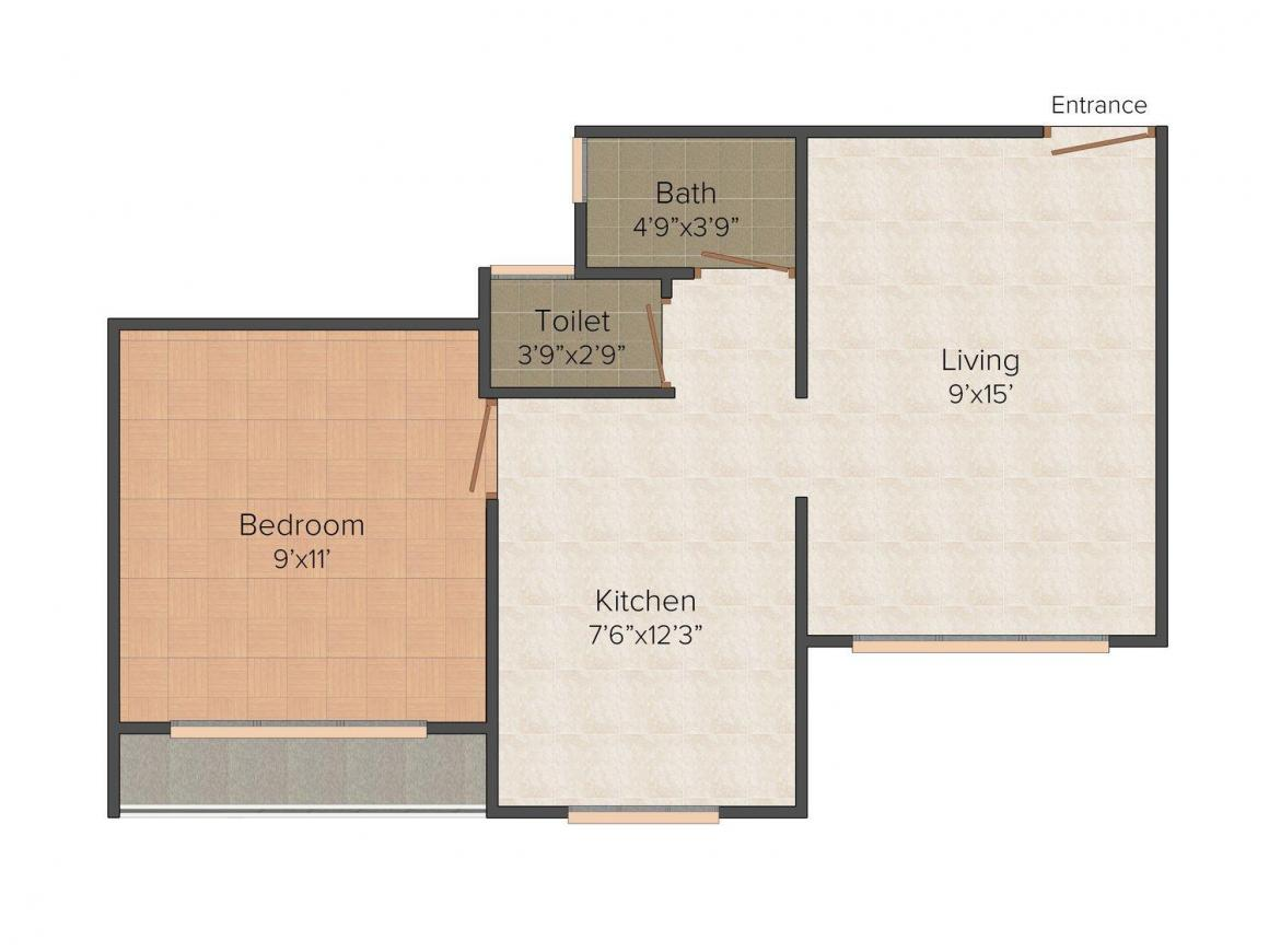 Floor Plan Image of 0 - 610 Sq.ft 1 BHK Apartment for buy in Sai Plaza Phase 2