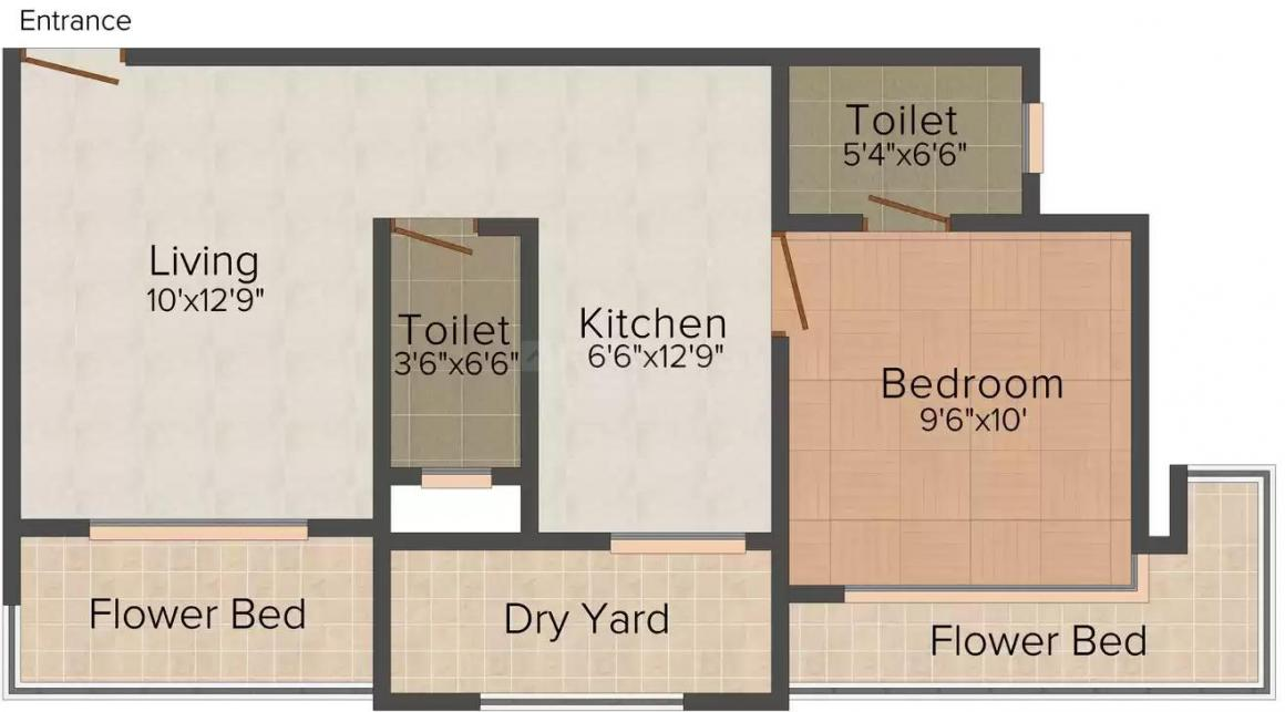 Kunal Royyal Herittage Floor Plan: 1 BHK Unit with Built up area of 635 sq.ft 1