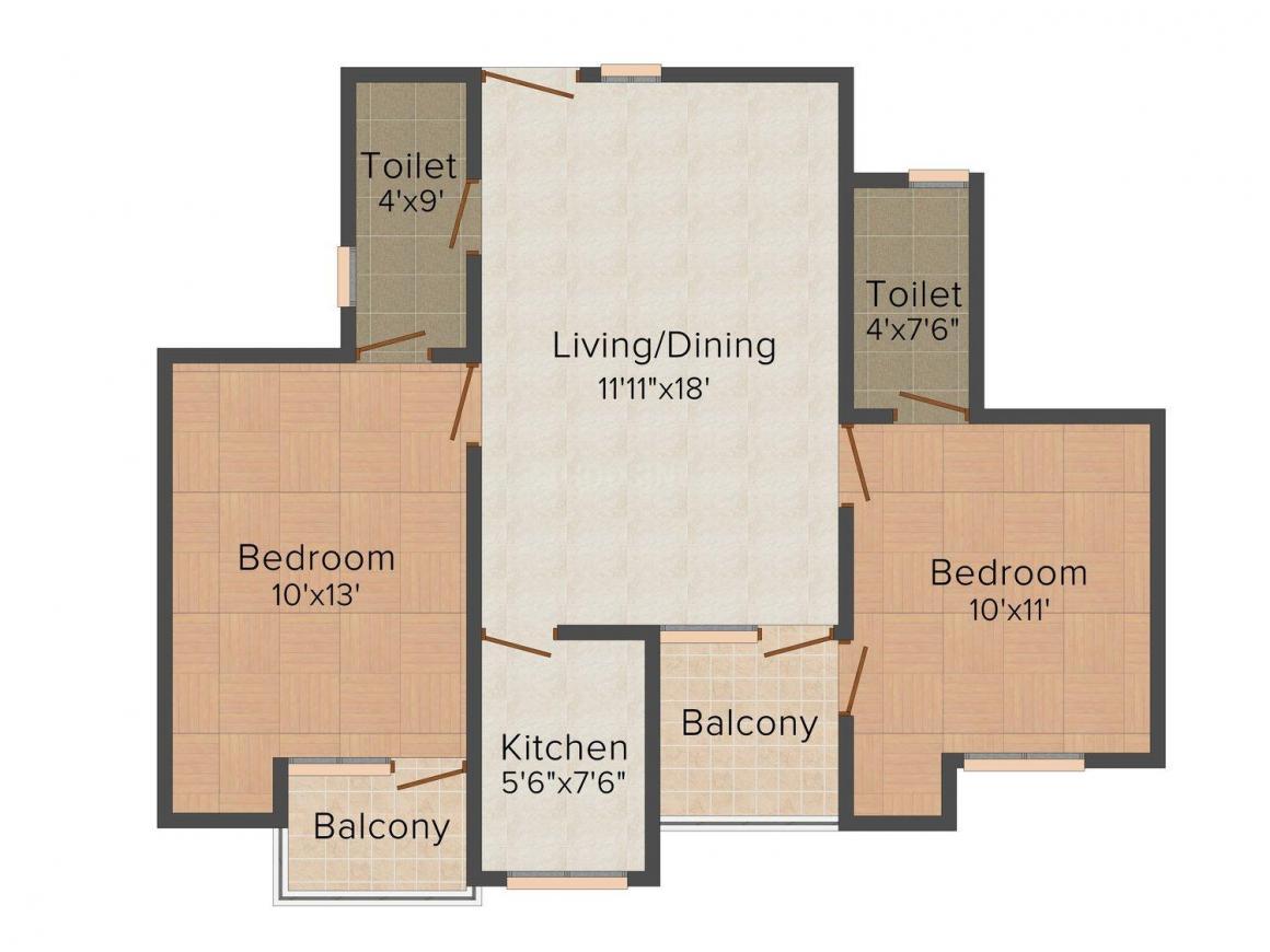 Floor Plan Image of 716 - 1170 Sq.ft 2 BHK Apartment for buy in RBM International Sai Kiran Apartment