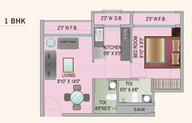 JSB Nakshatra Aarambh Floor Plan: 1 BHK Unit with Built up area of 403 sq.ft 1