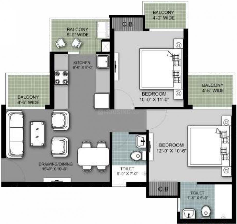 Arihant Armeria Floor Plan: 2 BHK Unit with Built up area of 588 sq.ft 1