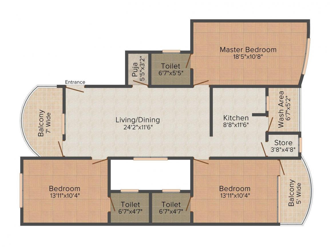 Floor Plan Image of 0 - 1855 Sq.ft 3 BHK Apartment for buy in Hriday JAS Exotica - B