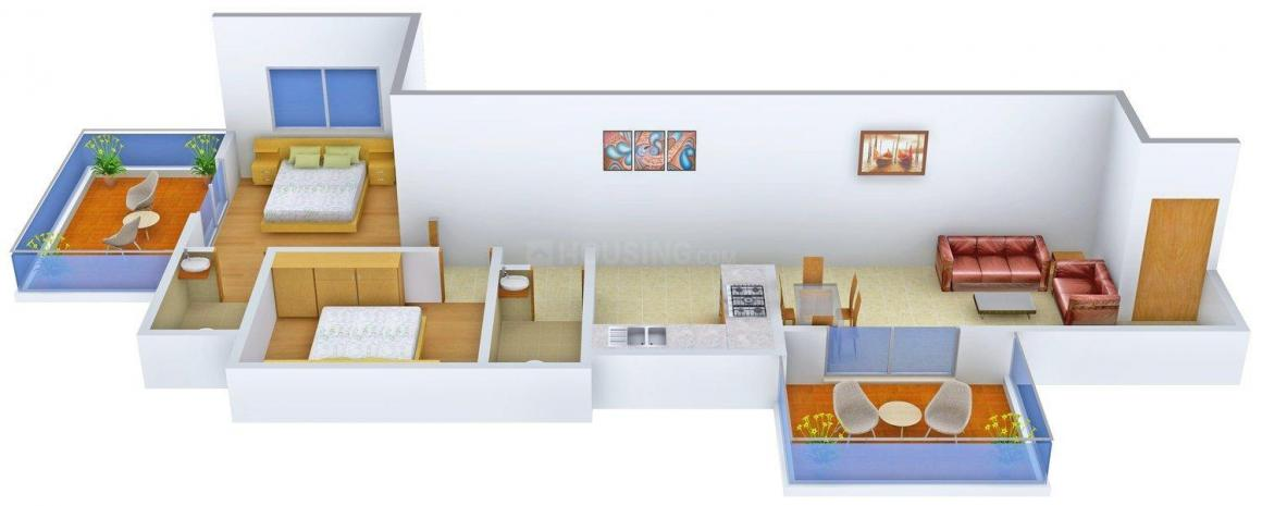 Floor Plan Image of 0 - 1070.0 Sq.ft 2 BHK Apartment for buy in Primespace Utsav Homes (Bavdhan)