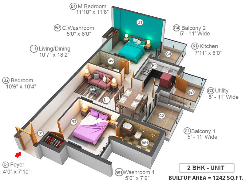 M3M Natura Floor Plan: 2 BHK Unit with Built up area of 1242 sq.ft 1