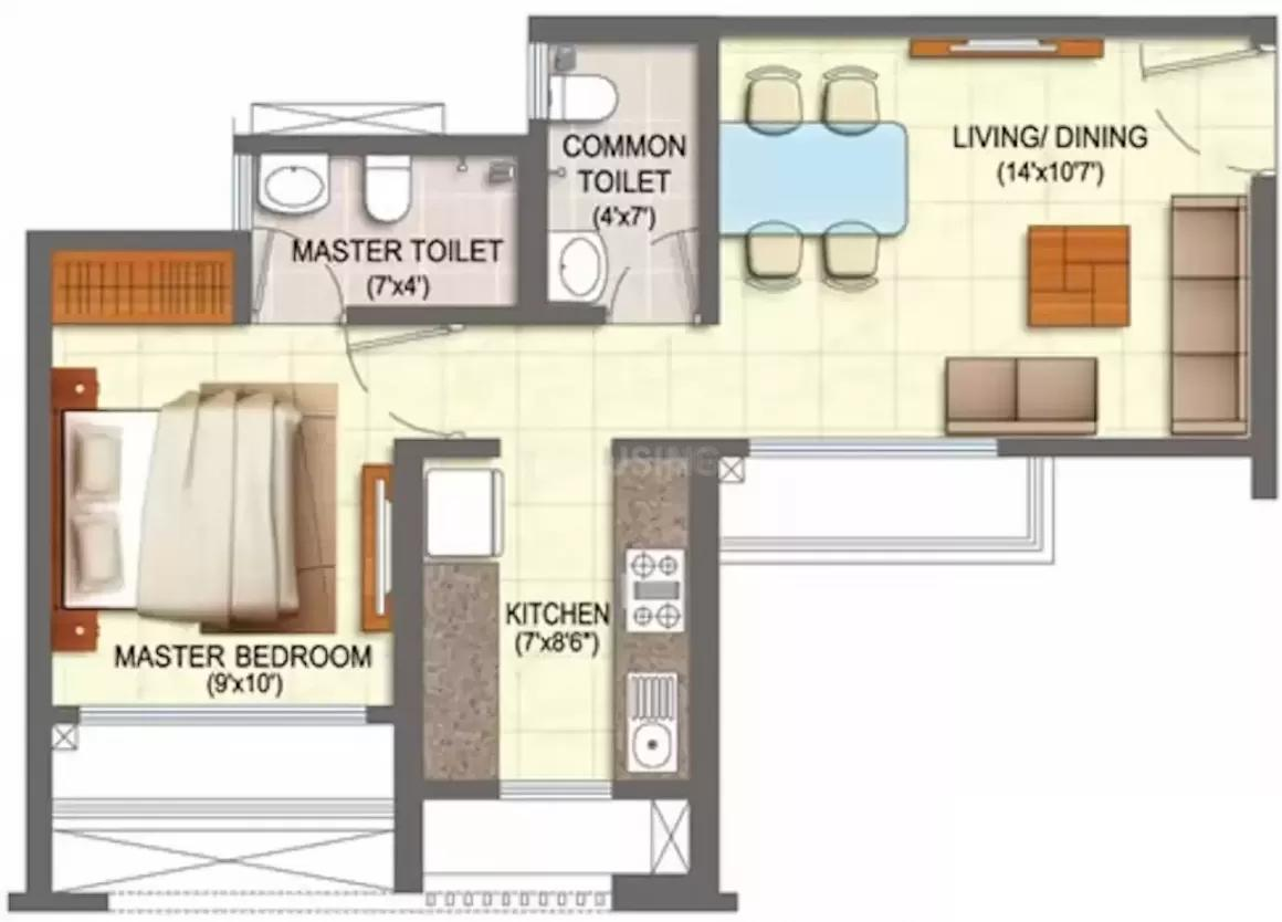 Runwal My City Phase II Cluster 4 Floor Plan: 1 BHK Unit with Built up area of 406 sq.ft 2