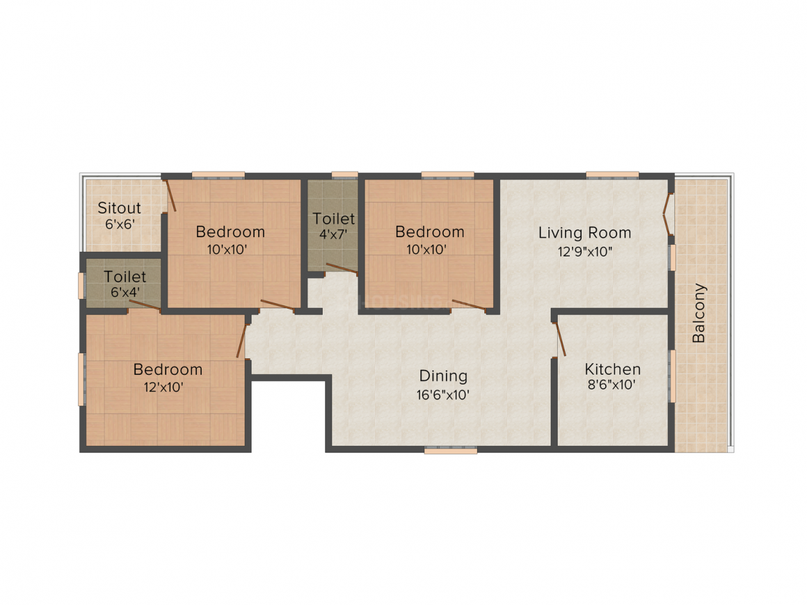 Floor Plan Image of 850.0 - 1025.0 Sq.ft 2 BHK Apartment for buy in Shree Maruthi Vinayaka Residency
